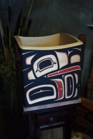 Bentwood Cedar Native Raven Berry Box by Victor Michael West