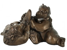 Autumn's Feast Bronze Haida Sculpture of Native Bears