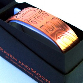 Tribal Spirit Gallery Copper Healing Bracelet Raven and Moon by Haida Artist Gordon White