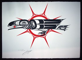 Native Northwest Artist Carl Stromquist Raven Brings Light original painting