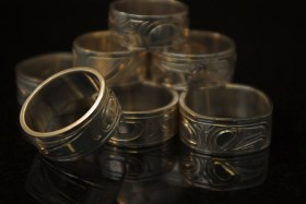 Silver Native rings by Cree artist Justin Rivard