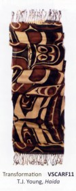 Native Northwest Coast Haida Transformation scarf by T.J. Young