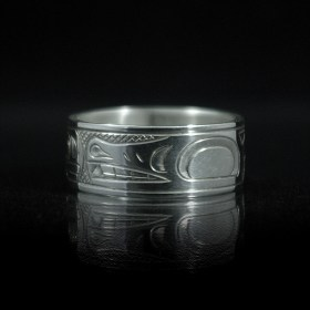 Tribal Spirit Gallery Silver Native Wolf and Moon Ring by Justin Rivard
