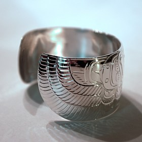 Silver 1.25 inch Native Thunderbird Bracelet by William Cook