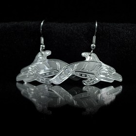 Silver cut-out Native Porpoise earrings by William Cook