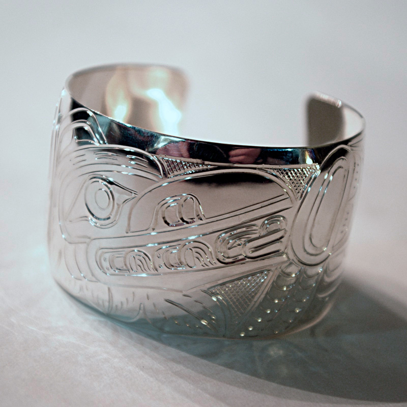 Silver 1.25 inch Native Raven and Frog Bracelet by William Cook