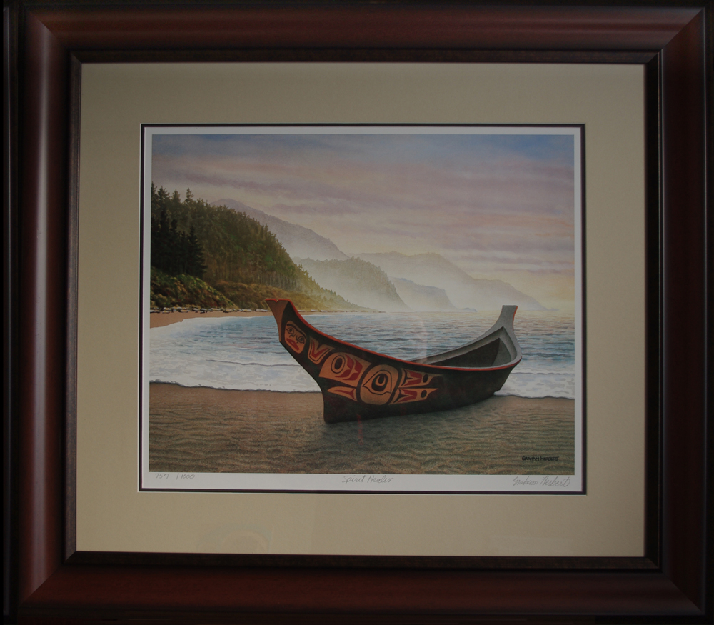 Spirit Healer Native Northwest Canoe resting on the beach of Haida Gwaii